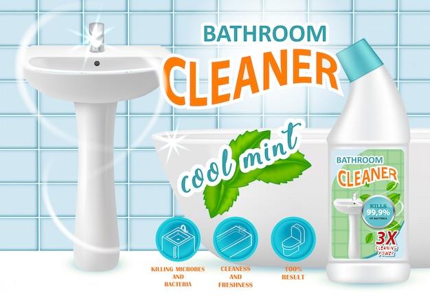 Modello di annuncio di detergente per il bagno alla menta fresca