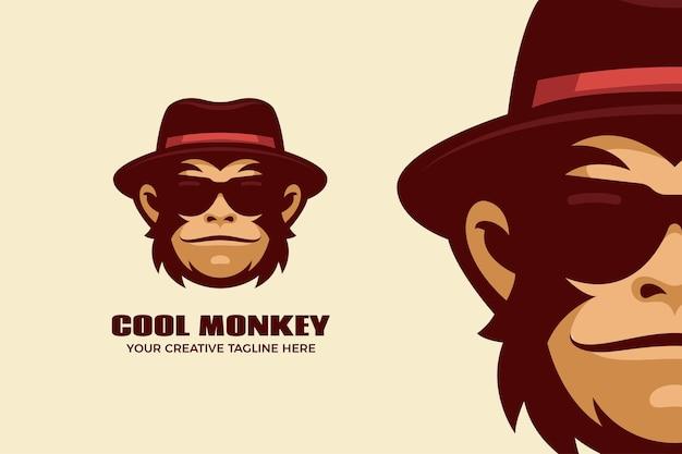Modello di logo mascotte dei cartoni animati di scimmia cool Vettore Premium