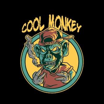 Raffreddare illustrazione di carattere scimmia