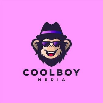 Fantastico design del logo a gradiente di scimmia