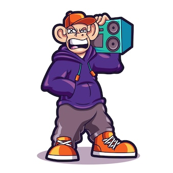 Cool monkey hip hop cartoon