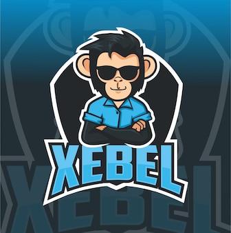 Modello di logo mascotte scimmia cool