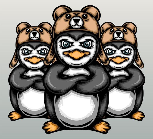 Fantastica squadra di pinguini con cappelli da orso.