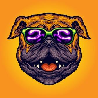 Cool pug dog summer occhiali da sole cartoon illustrazioni vettoriali per il tuo lavoro logo, t-shirt di merce mascotte, adesivi e disegni di etichette, poster, biglietti di auguri pubblicitari società o marchi.