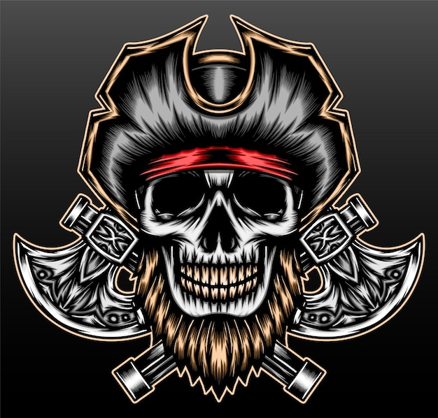 Fantastico pirata scheletro isolato sul nero
