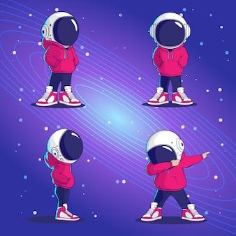 Cool space astronauta personaggio dei cartoni animati