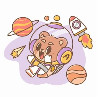 Cool space bear kid doodle illustrazione