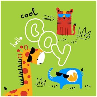 Simpatico cartone animato animale divertente in stile