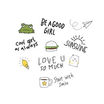 Fantastico design di t-shirt in stile doodle con toppe e citazioni scritte a mano