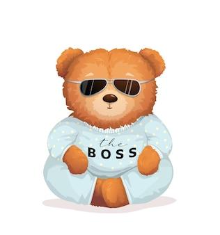 Cool orsacchiotto di peluche che indossa occhiali da sole con il segno boss sulla sua maglietta.