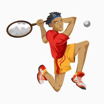 Giocatore di tennis cool con una racchetta in mano. concorso di persone di campionato sportivo. sport infografica lancio del peso eventi di atletica. sfondo bianco. disegnato in uno stile piatto.