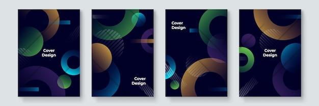 Design di copertine alla moda e alla moda. modernismo colorato. composizione di forme geometriche minimali. modelli futuristici. vettore a strati di design in stile bauhaus