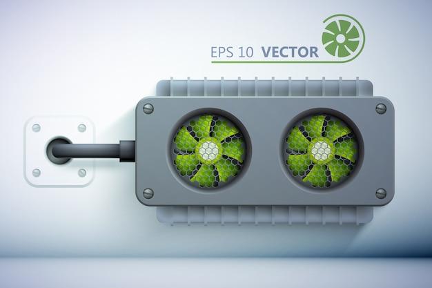 Elementi del sistema di raffreddamento con dispositivi di raffreddamento realistici verdi e filo posizionato sul muro