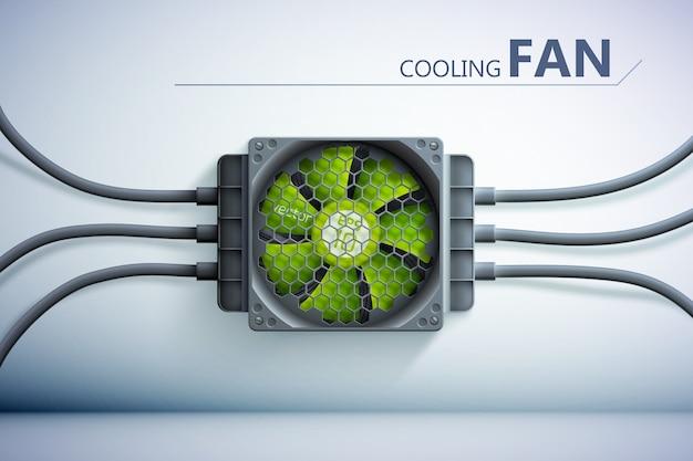Illustrazione del sistema di raffreddamento con griglia di raffreddamento in plastica verde realistica sulla parete e fili
