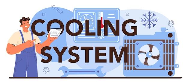 Intestazione tipografica del sistema di raffreddamento. servizio di riparazione auto.