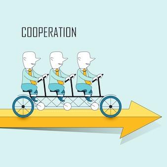 Concetto di cooperazione: uomini d'affari in sella a una bicicletta in tandem in stile linea