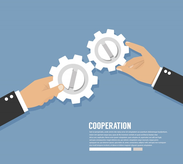 Lavoro di cooperazione. mani con ingranaggi. concetto di lavoro di squadra Vettore Premium