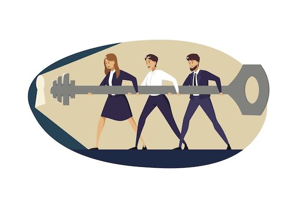 Lavoro di squadra cooperativo, concetto di business collaborativo.