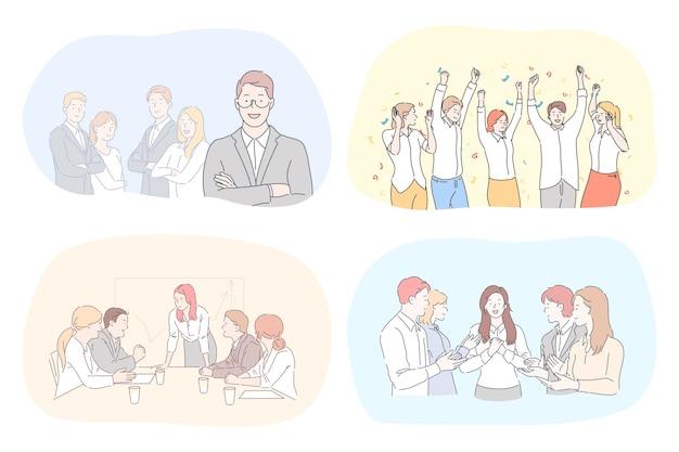 Illustrazione di persone di cooworking.