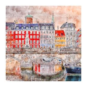 Illustrazione disegnata a mano di schizzo dell'acquerello di copenhagen danimarca