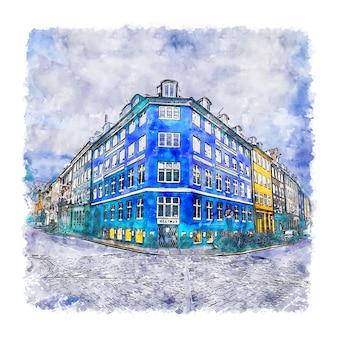 Illustrazione disegnata a mano di schizzo dell'acquerello di copenhagen danimarca Vettore Premium
