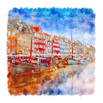 Copenhagen danimarca schizzo ad acquerello illustrazione disegnata a mano denmark