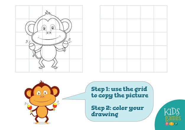 Copiare e colorare l'immagine, fare esercizio. scimmia divertente cartone animato per come disegnare e colorare mini gioco per bambini in età prescolare