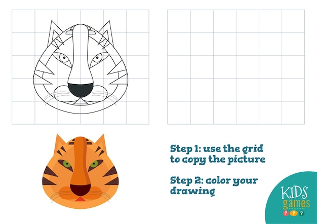 Copiare e colorare l'immagine, fare esercizio. testa di cartone animato divertente tigre per disegnare e colorare gioco