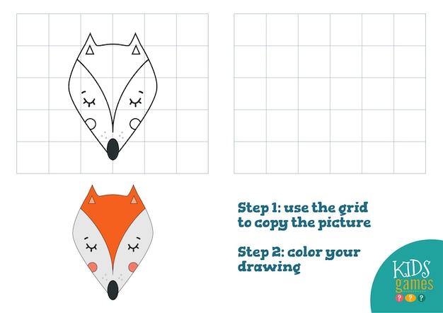 Copia e illustrazione della foto a colori, esercizio. testa di cartone animato volpe divertente per disegnare e colorare gioco per bambini in età prescolare