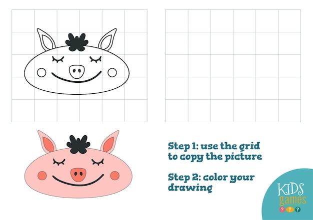 Copia e illustrazione della foto a colori, esercizio. testa di cartone animato divertente maiale per disegnare e colorare gioco per bambini in età prescolare