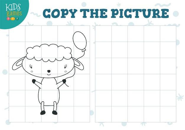 Copia e colora l'esercizio di illustrazione vettoriale dell'immagine divertente cartone animato pecorelle per come disegnare e