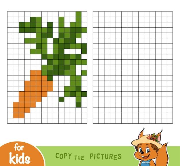 Copia l'immagine per quadrati, gioco educativo per bambini, carota