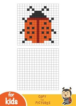 Copia l'immagine per quadrati, gioco educativo per bambini, coccinella