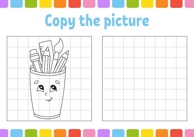 Copia l'immagine. pagine del libro da colorare per bambini. foglio di lavoro per lo sviluppo dell'istruzione.