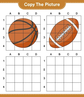 Copia l'immagine, copia l'immagine della palla da basket e da rugby usando le linee della griglia. gioco educativo per bambini, foglio di lavoro stampabile, illustrazione vettoriale