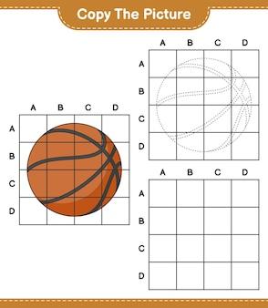Copia l'immagine copia l'immagine del basket usando le linee della griglia gioco educativo per bambini