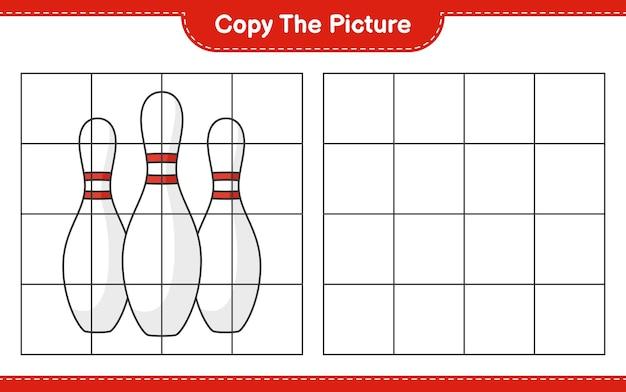 Copia l'immagine copia l'immagine di bowling pin usando le linee della griglia gioco educativo per bambini