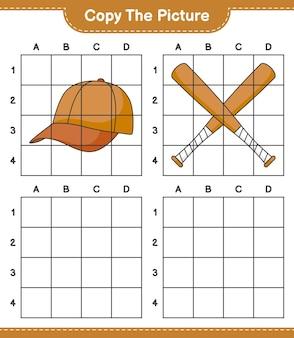 Copia l'immagine, copia l'immagine di berretto cappello e mazza da baseball usando le linee della griglia. gioco educativo per bambini, foglio di lavoro stampabile, illustrazione vettoriale