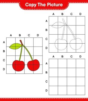 Copia l'immagine, copia l'immagine di cherry usando le linee della griglia. gioco educativo per bambini, foglio di lavoro stampabile
