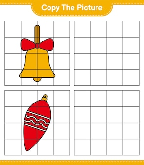 Copia l'immagine, copia l'immagine delle luci di natale e delle campane di natale dorate usando le linee della griglia. gioco educativo per bambini, foglio di lavoro stampabile