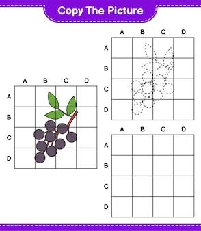 Copia l'immagine, copia l'immagine di sambuco usando le linee della griglia. gioco educativo per bambini, foglio di lavoro stampabile