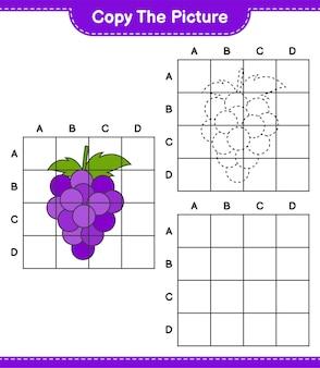 Copia l'immagine, copia l'immagine di grape usando le linee della griglia. gioco educativo per bambini, foglio di lavoro stampabile