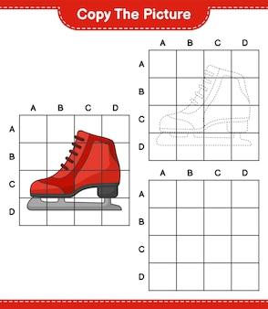 Copia l'immagine copia l'immagine di ice skates usando le linee della griglia gioco educativo per bambini