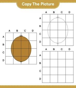 Copia l'immagine, copia l'immagine del kiwi usando le linee della griglia. gioco educativo per bambini, foglio di lavoro stampabile