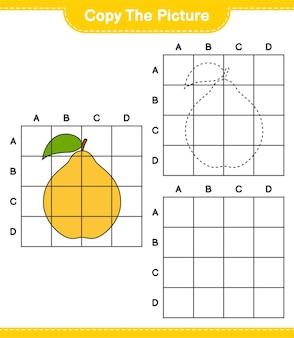 Copia l'immagine, copia l'immagine di quince usando le linee della griglia. gioco educativo per bambini, foglio di lavoro stampabile