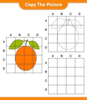 Copia l'immagine, copia l'immagine di ximenia usando le linee della griglia. gioco educativo per bambini, foglio di lavoro stampabile