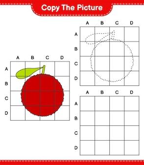 Copia l'immagine, copia l'immagine di yumberry usando le linee della griglia. gioco educativo per bambini, foglio di lavoro stampabile