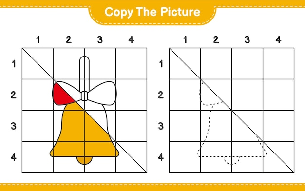 Copia il gioco del foglio di lavoro educativo illustrato di campane di natale dorate usando le linee della griglia