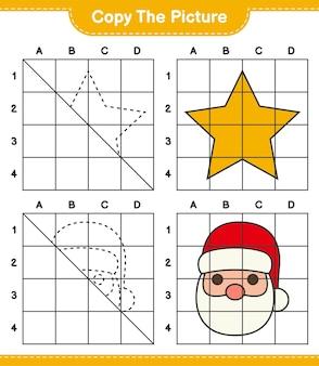Copia il gioco del foglio di lavoro educativo illustrato di stelle e babbo natale usando le linee della griglia