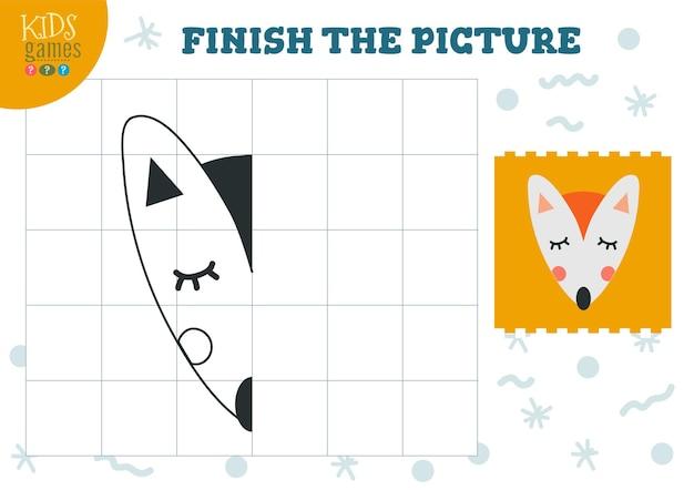 Copia immagine illustrazione gioco completo e da colorare per bambini in età prescolare e scolastica contorno volpe carino per attività di disegno e istruzione